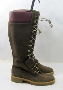 Defective !! 23686 Timberland BROWN Leather lace up KNEE Boots WOMEN Size 8.5-7