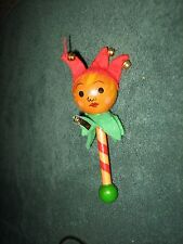 "WOODEN JESTER CHRISTMAS TREE ORNAMENT-MADE IN COSTA RICA-APPROX. 5 1/4"" TALL"