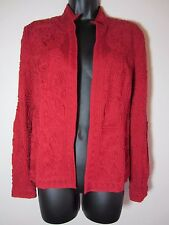 Chicos Jacket 0 or S Small Red LS Long Sleeve Open Front NEW