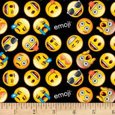 Emoji Faces Fabric Fat Quarter Cotton Craft Quilting Text Me