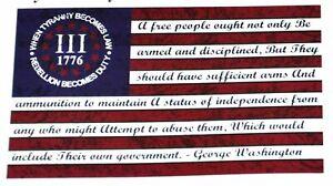 III 3% 1776 Rebellion Tyranny Stars & Stripes Flag 3x5 w/ Grommets New!!