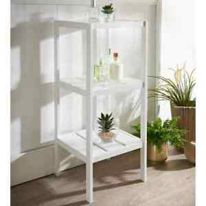 3 Tier wood Shelving Unit Free Standing White Maine