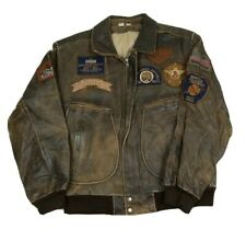 Bencat Airborne Brown Leather Aviator Flight Bomber Jacket Patches S Vintage 80s