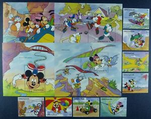 Grenada 1992 Disney Sport Trickfilm Brücke 2386-93 + Block 295-298 MNH