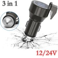 12/24V Car Cigarette Charger Emergency Hammer  3 in 1 Power Adapter Dual USB
