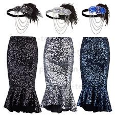 Sequin Mermaid Fishtail Maxi Skirt High Waist Long Bodycon Fancy Dress Plus Size