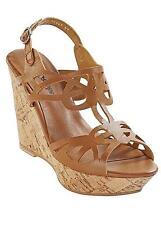 Kaleidoscope Leather Cutout Platform Wedge Shoes- Tan RRP£45 UK8 EU41 JS16 52