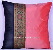 Silk Fabric Pillow Cover Indian Cushion Cover Ethnic Home Decorative Throw 16'