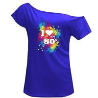 I Love The 80s Off Shoulder T Shirt Women Ladies Splash Print Top Retro Pop Star