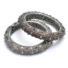 Indian Ethnic Bangles Set of Two Kada Size 2.8 Silver Antique Tribal Jewellery