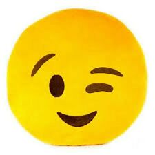 """USA SELLER Emoji Pillow 12"""" Inch Large Yellow Smiley 30cm Emoticon (Wink) Toy"""