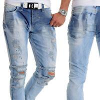 Herren Cipo & Baxx Jeans Distressed Zerschlissene Verwaschen Blau 32L Slim Fit