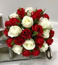 SILK WEDDING FLOWER RED WHITE ROSES BOUQUET ROSE FLOWERS POSY FAKE BUNCH PREMADE