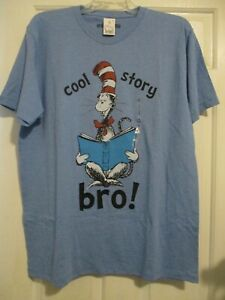 NEW MENS LARGE WELOVEFINE CAT IN THE HAT DR SEUSS T-SHIRT BLUE COOL STORY BRO