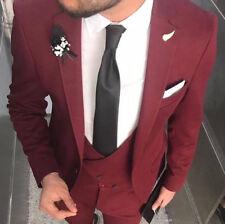 Designer Business rosso bordeaux completo Uomo Gilet Arredata vestibilità slim