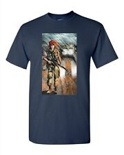 Soldier Jeep Rifle War Game Peace Tanya Ramsey Artwork Art DT Adult T-Shirts Tee