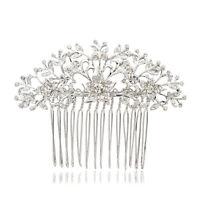 Silver Hair Comb Bridal Accessories Flower Leaf Hairpin Rhinestone Crystal 2257R