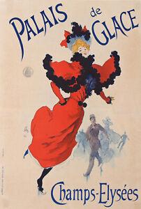 CHERET PALAIS DE GLACE ICE SKATING CHAMPS ELYSEES PARIS VINTAGE POSTER 1894