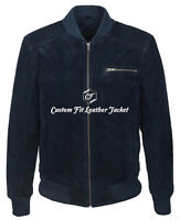 Mens Leather Suede Jacket Navy Blue Bomber Style Soft 100% REAL LEATHER 275