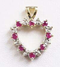 14k Yellow Gold Ruby Sapphire Diamond Heart Pendant