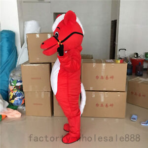 Halloween Red Horse Mascot Costume Cosplay Animal Birthday Party Game Dress Suit