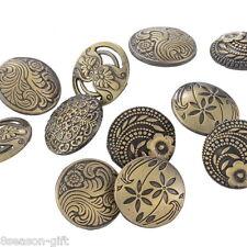 HX 30PCs Round Sewing Buttons Bronze Tone Flower Decorative Pattern Mixed 17mm