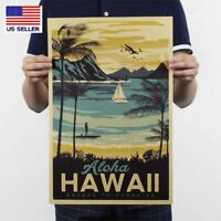 Vintage Retro Hawaii Landscape Poster Aloha poster Beach Travel Wall Decor USA