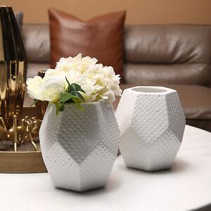 5-Inch Modern White Ceramic Geometric Design Flower Bouquet Vase
