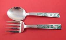 Elkington English Sterling Silver Salad Serving Set 2pc with Green Enamel 9 1/4""