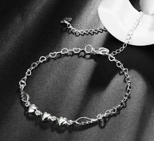 Womens Silver Love Heart Link Chain Foot Ankle Bracelet #Ab02 for all Anklets