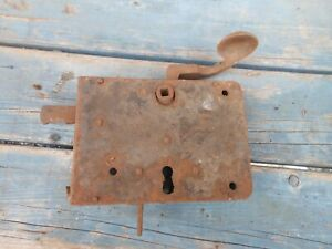 18th C Black Smith Hand Forged Iron Door Latch Lock
