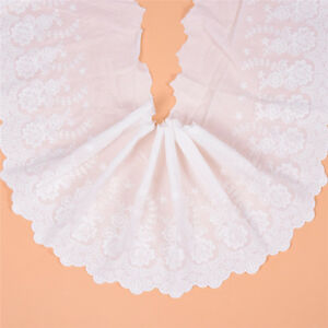 3Yards White Lace Cotton Embroidered Trim Fabric DIY Decor Crafts Sewing Dress