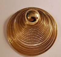 Vintage Large Goldtone Spiral Pin Loop Chain Style Brooch Lapel Pin