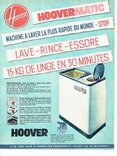 Publicité Advertising 107  1960  Hoover machine à laver hoovermatic JO Rome