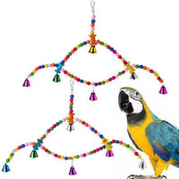Wood Bird Swing Cage Toy Parrot Bird Finch Cage Perch Hanging Chew Toy t