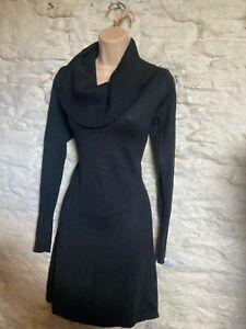 Monsoon black wool rich cowl neck jumper  dress  size 10