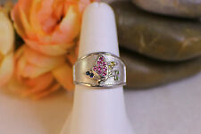 Solid 18K Butterfly Ring, band with Multi Colored Sapphires LeVian sz 8.5 Pretty