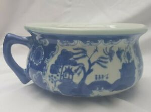 Vintage Chinese Style Planter Bowl with Handle - Blueware, Glazed Finish.