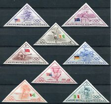 RARE DOMINICAN REPUBLIC 1957 OLYMPIC GAMES SET OF IMPERFORATE TRIANGLES!