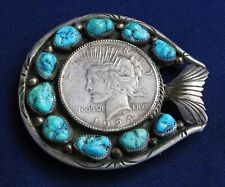 NATIVE AMERICAN STERLING COIN Stamped 10 TURQUOISE Nuggets Vintage BELT BUCKLE