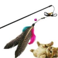 Funny Pet Cat Kitten Play Interactive Toys Teaser Wand Colorful Feather & Bell ~