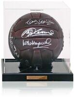 Retro Leather football hand signed by Tottenham 1984 UEFA Cup Winners AFTAL COA