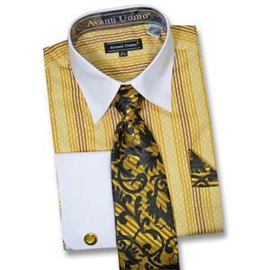 Avanti Uomo Butterscotch / Mustard / Brown / White Dress Shirt / Tie / Hanky Set