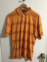 Nike Dri-Fit Tiger Woods Collection Orange Striped Golf Polo Shirt Mens Large