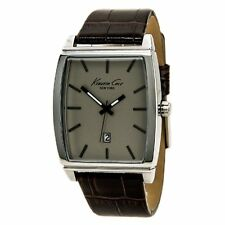 Kenneth Cole Men's Stainless Steel Analog Brown Leather Band Watch KCW1028