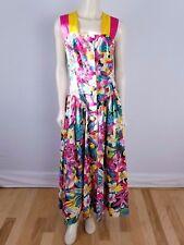 LESLIE LUCKS Vintage 80s Colorful Floral large buttons long length dress sz 12