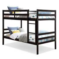Twin Over Twin Wood Bunk Beds W/Ladder & Safety Rail Pine Wood Bunk Bed Espresso