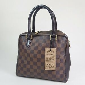 Auth Louis Vuitton Brera Damier Ebene N51150 Guaranteed Zipper Has Broken ALA370