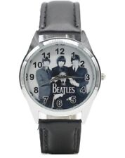 The Beatles Round Black Genuine Leather Band Wrist Watch