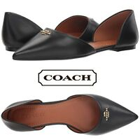 COACH Leather Pointy Toe Flats Women's Classic Slip On Shoes Designer Casual NIB